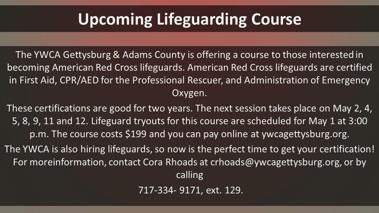 Upcoming Lifeguarding Course Community Media